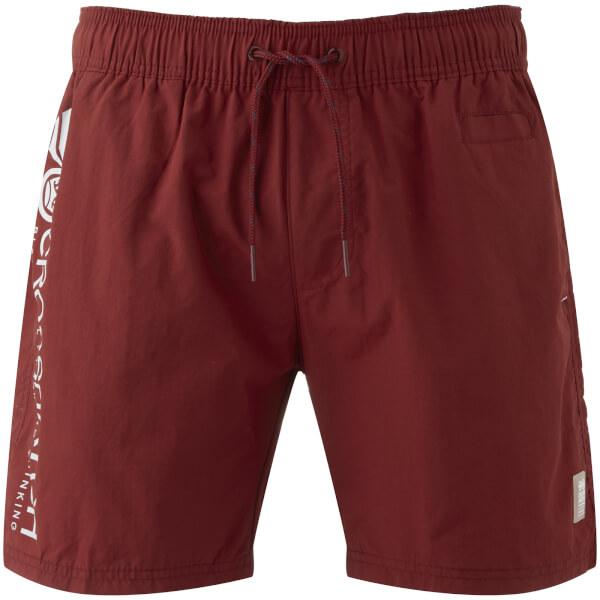 Crosshatch Men's Jennis Logo Swim Shorts - Pomegranate Red