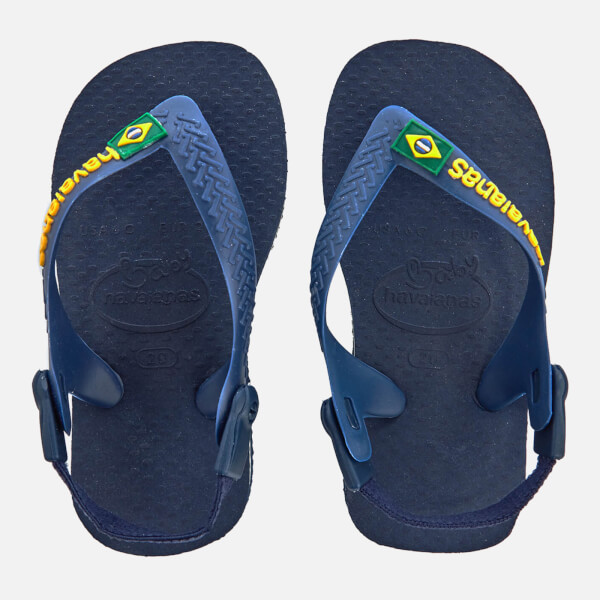 Havaianas Toddlers' Brasil Logo Flip Flops - Navy Blue/Yellow