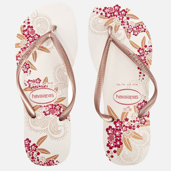 3314698c1 Havaianas Women s Organic Slim Flip Flops - White Rose Gold Womens ...