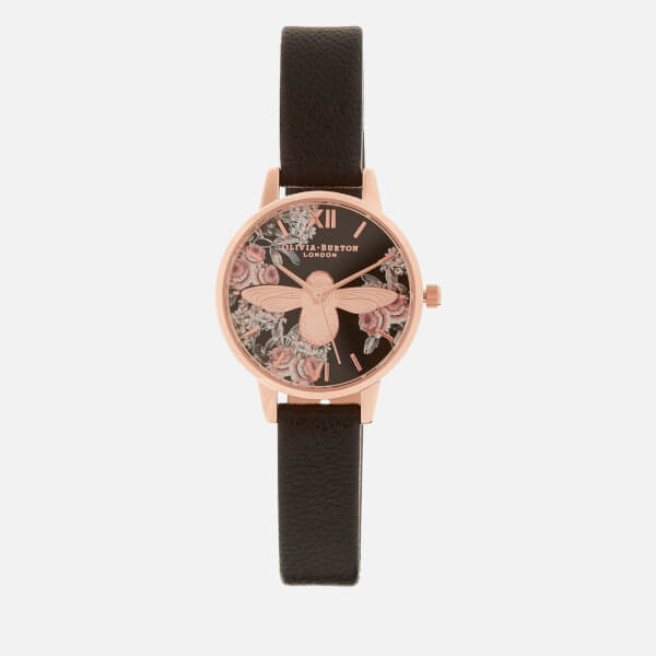 Olivia Burton Women's 3D Botantical Bee Watch - Black/Rose Gold