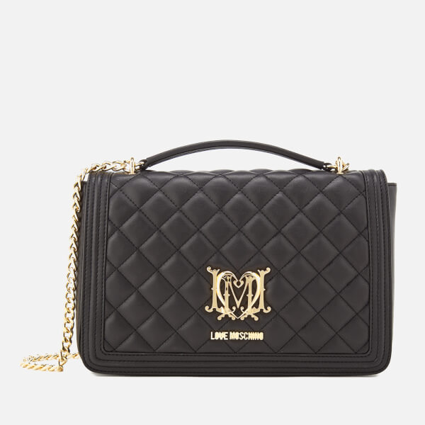 Love Moschino Women s Quilted Medium Flap Shoulder Bag - Black  Image 1 8006994f4e