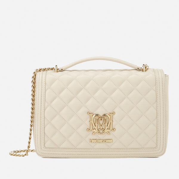 Love Moschino Women S Quilted Medium Flap Shoulder Bag Ivory Image 1