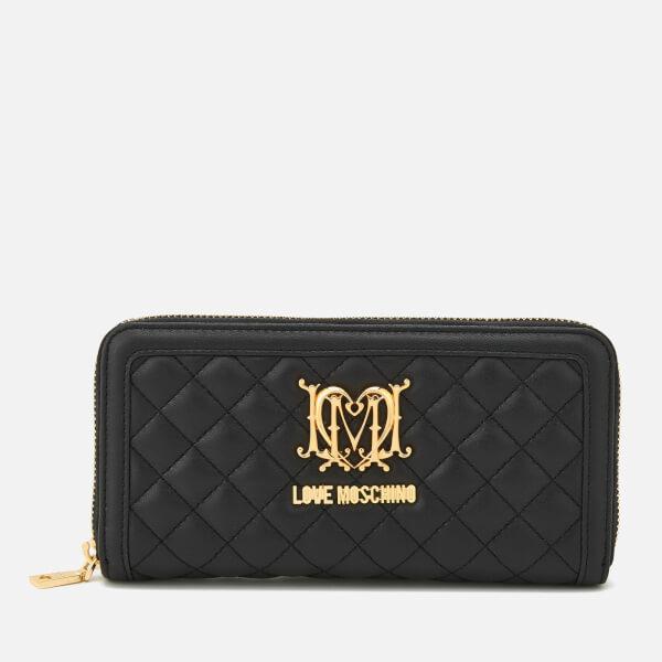 601c5792344 Love Moschino Women's Quilted Zip Around Purse - Black: Image 1