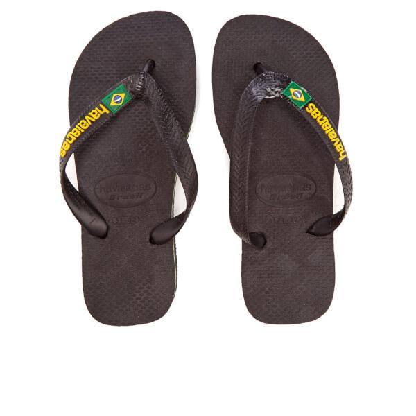 Havaianas Kids' Brasil Logo Flip Flops - Black