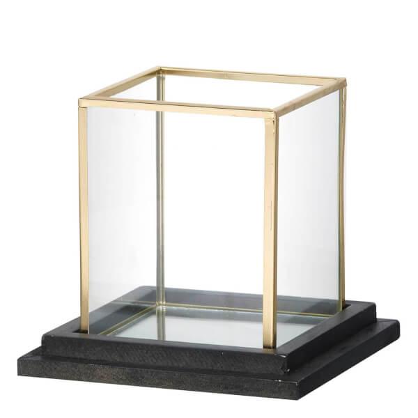 Photophore Cube Parlane - Verre/Doré (13.5 x 15cm)