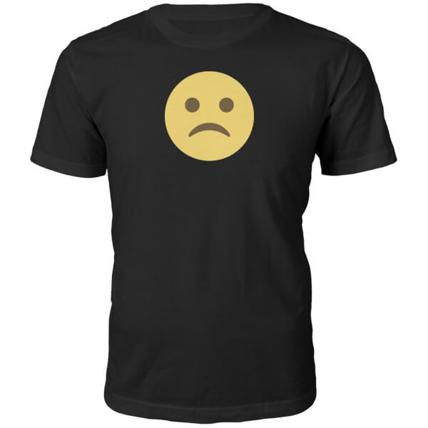 Emoji Unisex Sad Face T-Shirt - Black