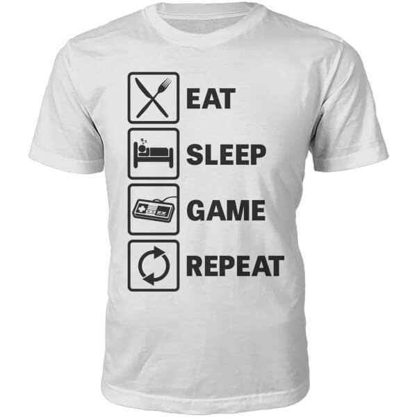 Eat Sleep Game Repeat Slogan T-Shirt - White