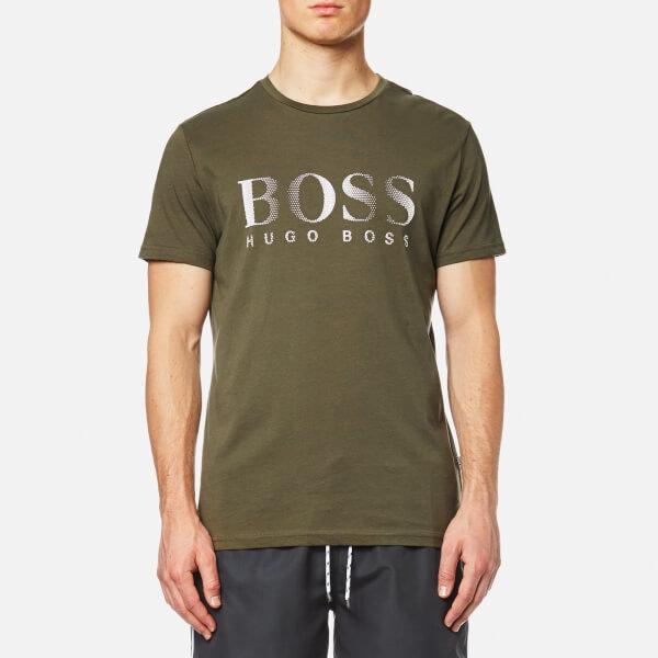 BOSS Hugo Boss Men's Large Logo Swim T-Shirt - Dark Green: Image 1