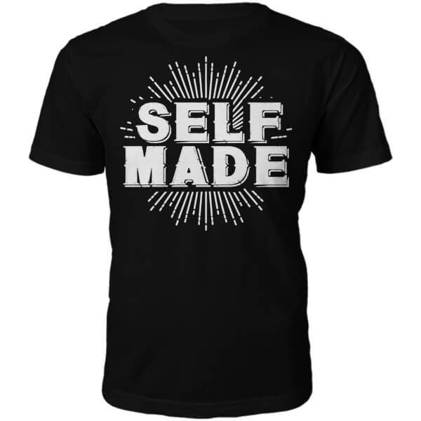 Self Made Slogan T-Shirt - Black