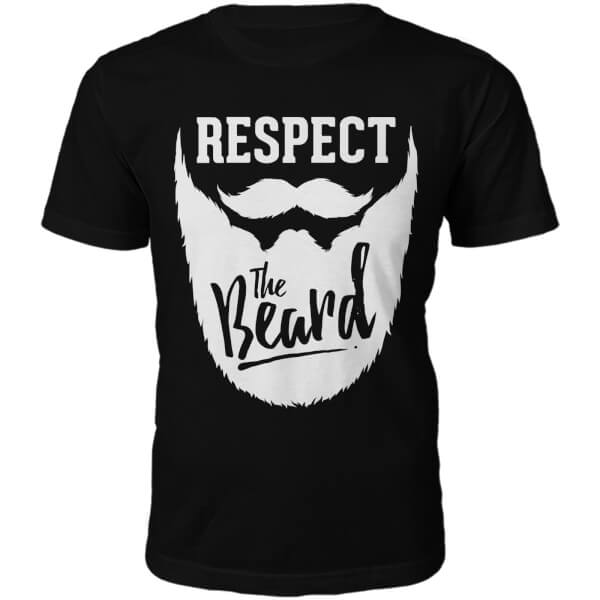 Respect The Beard Slogan T-Shirt - Black
