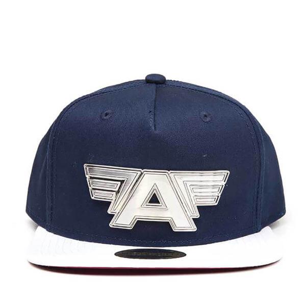 Marvel Captain America: Civil War Metal Plate Logo Snapback Cap - Blue/White