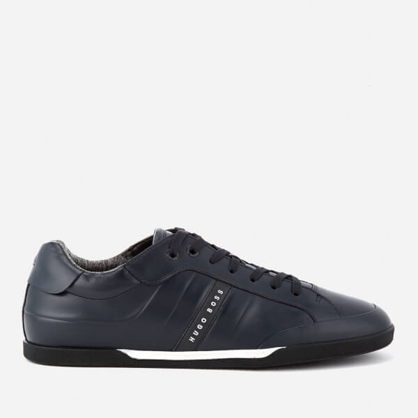 BOSS Green Men's Shuttle Leather Low Top Trainers - Dark Blue