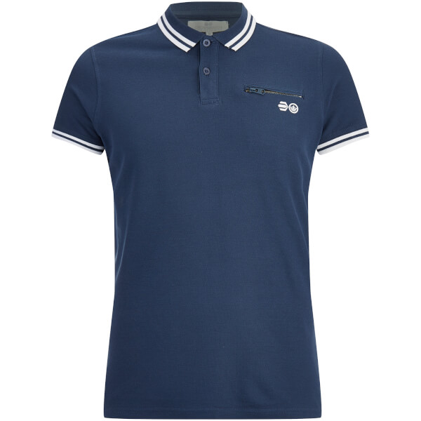 Crosshatch Men's Crazer Tipped Pique Polo Shirt - Insignia Blue
