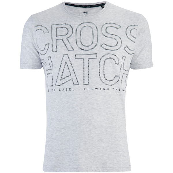 Crosshatch Men's Quahog Chest Print T-Shirt - Light Grey Marl