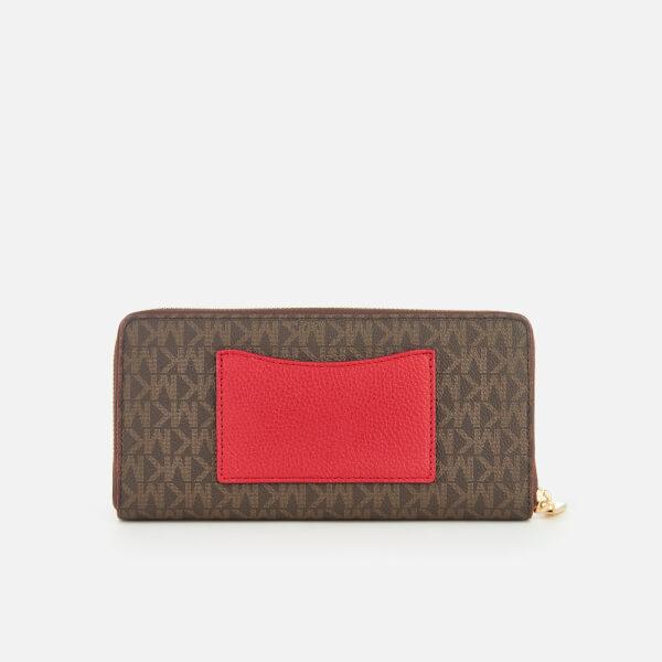 143a1ba7d915a7 MICHAEL MICHAEL KORS Women's Mercer Pocket Zip Around Continental Purse -  Brown/Bright Red: