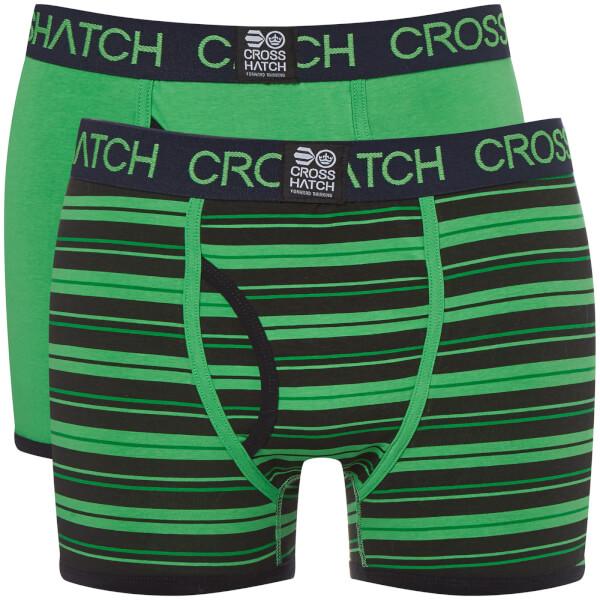 Crosshatch Men's 2 Pack Deckster Boxer Shorts - Classic Green