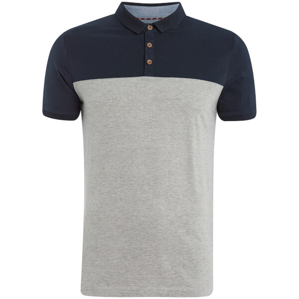 Brave Soul Men's Ceaser Panel Polo Shirt - Grey Marl