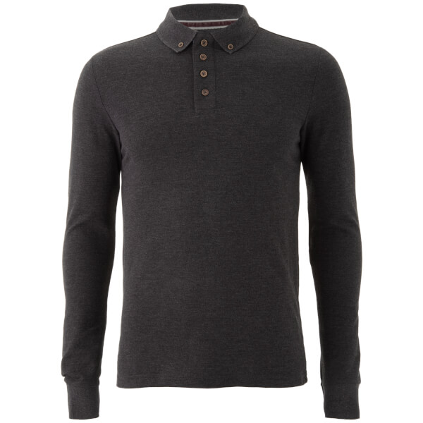 Brave Soul Men's Lincoln Long Sleeve Polo Shirt - Dark Charcoal Marl