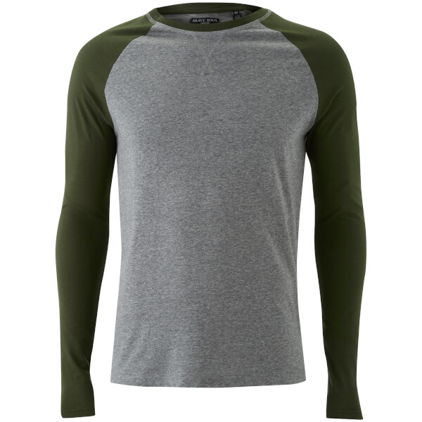 T-Shirt Osbourne Manches Longues Homme Raglan Brave Soul -Gris/Kaki