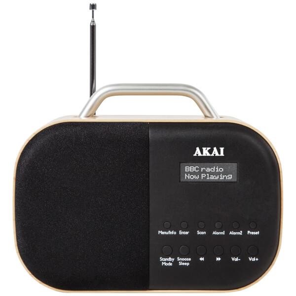 Akai Beech Wood DAB Radio with LCD Screen - Wood