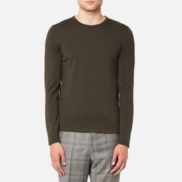 HUGO男式San Paolo圆领羊毛套头衫- Dark Green