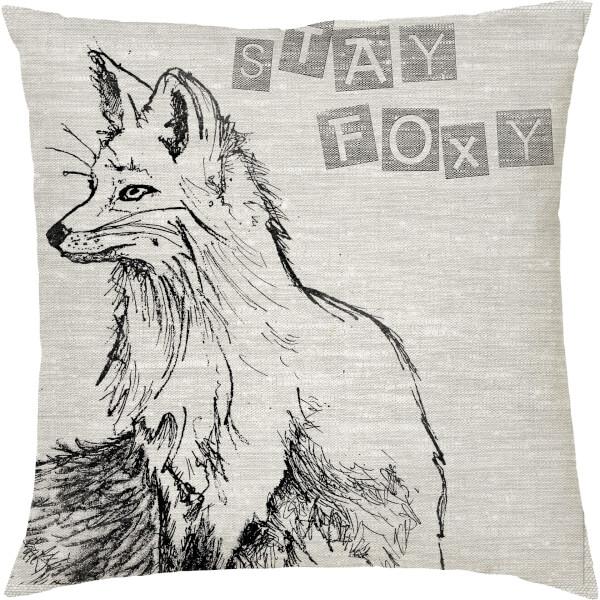 Stay Foxy Fox Cushion - Grey (45 x 45cm)