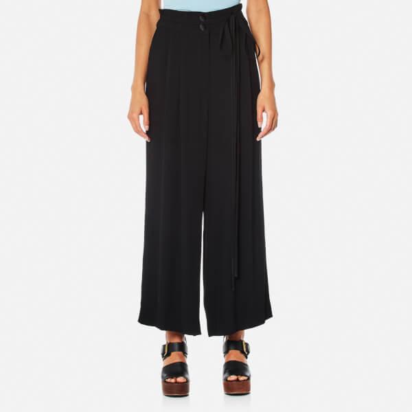 Womens black wide leg trousers uk