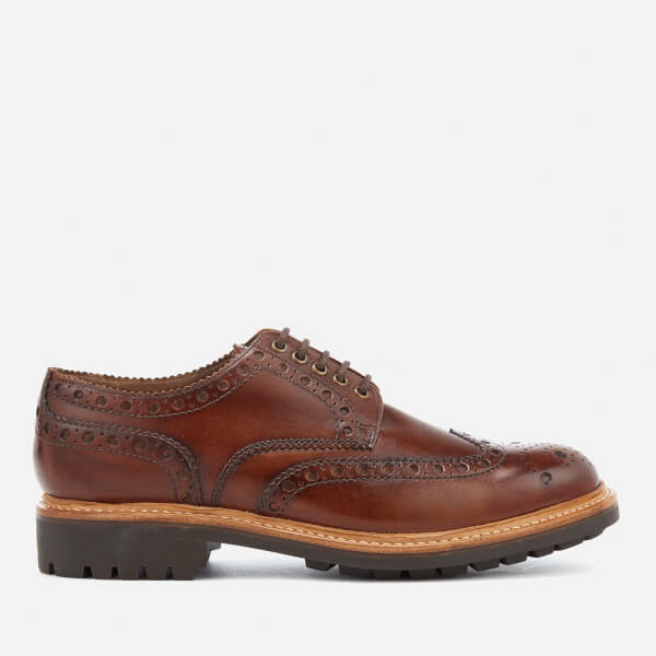 Grenson Men's Archie Hand Painted Leather Commando Sole Brogues - Tan