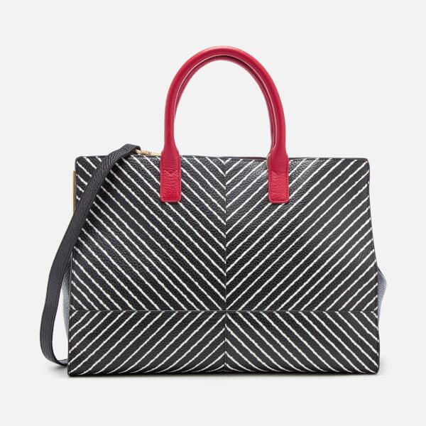 Lulu Guinness Women's Diagonal Stripes Daphne Tote Bag - Black/Chalk