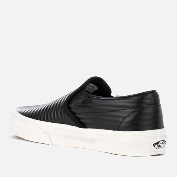 654487964bb5 Vans Women s Classic Moto Leather Slip-On Trainers - Black Blanc de Blanc