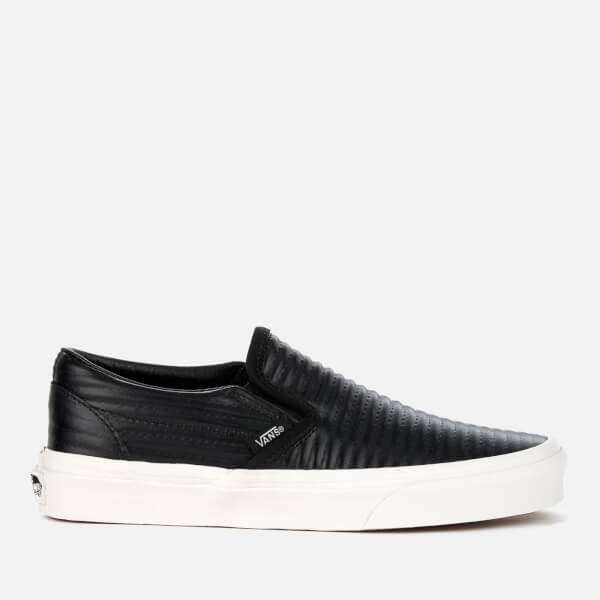 Vans Women's Classic Moto Leather Slip-On Trainers - Black/Blanc de Blanc