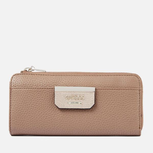 Guess Women's Bobbi Slim Zip Wallet - Latte