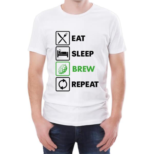 T-Shirt Homme Eat Sleep Brew Repeat -Blanc