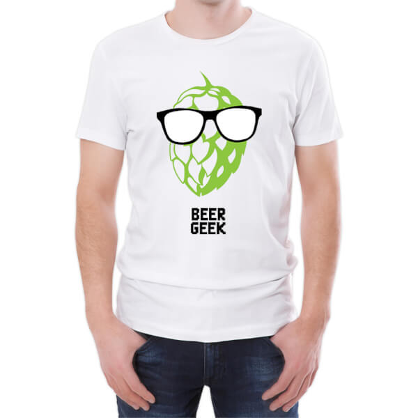 T-Shirt Homme Beer Geek -Blanc