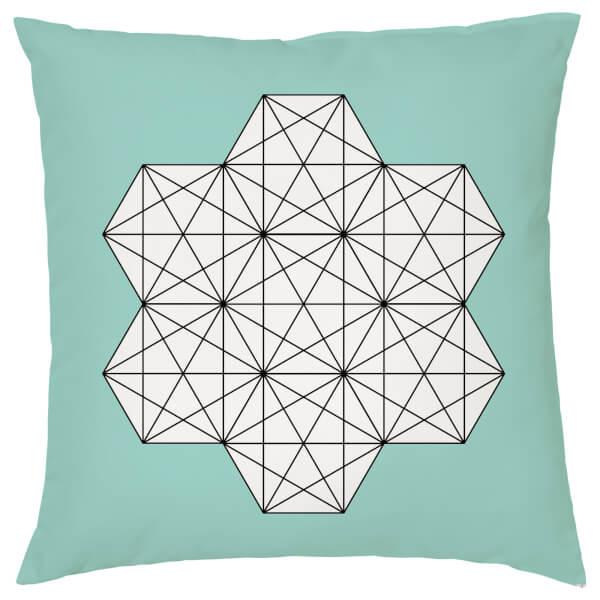 Geometric Star Print Cushion - Teal