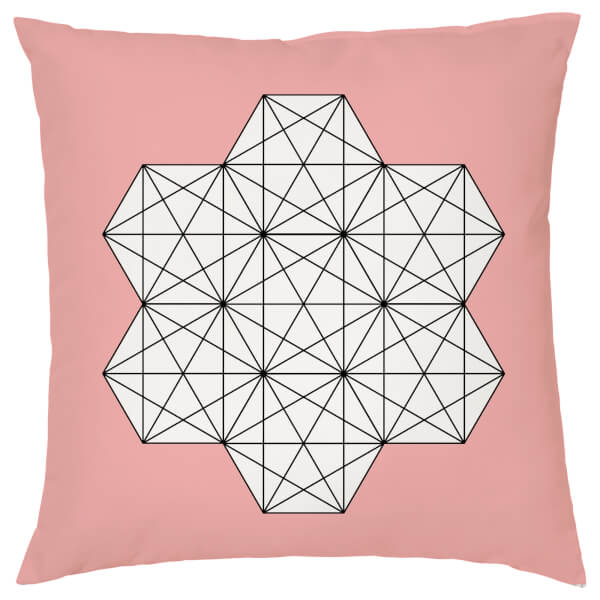 Geometric Star Print Cushion - Coral