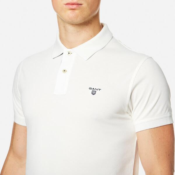 Collar Contrast Short Eggshell Pique Sleeve Men's Polo Shirt Gant XZkPuOi