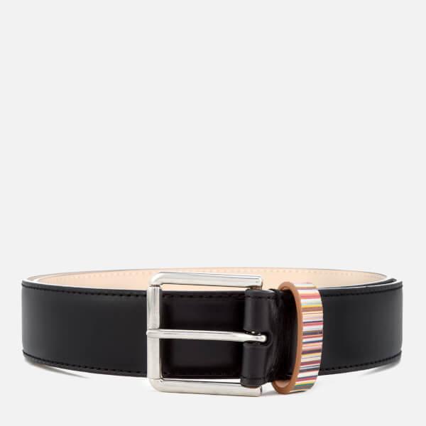 Paul Smith Men's Stripe Keeper Belt - Black