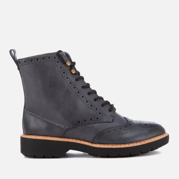afcf314a67 Clarks Women's Witcombe Flo Leather Brogue Lace Up Boots - Dark Grey: Image  1