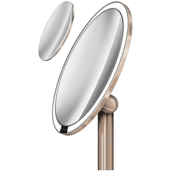 Simplehuman Stainless Steel Rechargeable Pro 5x Plus 10x Magnification Sensor Mirror Rose Gold 20cm