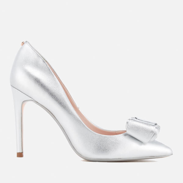 f072bf1bc Ted Baker Women s Azeline Double Bow Leather Court Shoes - Silver Silver   Image 1
