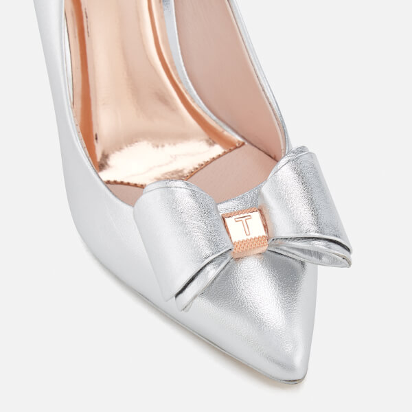 268fa903b Ted Baker Women s Azeline Double Bow Leather Court Shoes - Silver Silver   Image 5