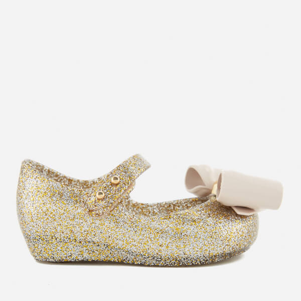 8a1659b7eb74 Mini Melissa Toddlers' Ultragirl Bow Glitter 18 Ballet Flats - Gold: Image 1