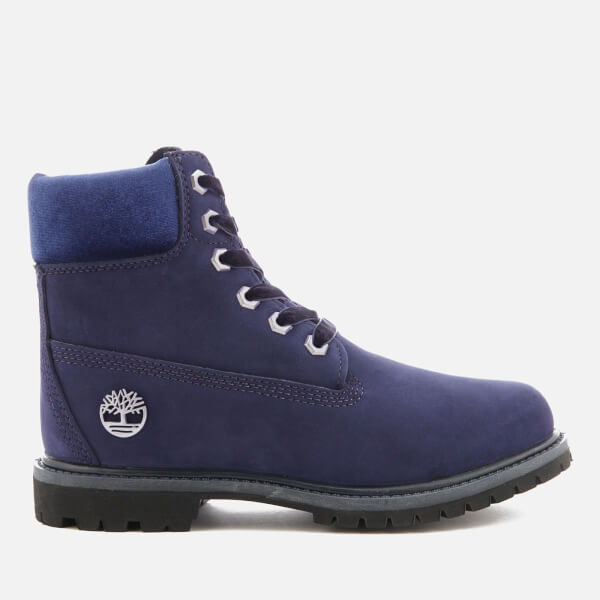 Timberland Women's 6 Inch Water Resistant Boots - Dark Evening Blue Waterbuck with Velvet Collar