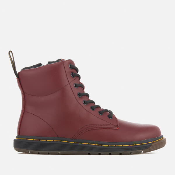 Dr. Martens Kids' Lite Malky Leather 8-Eye Lace Up Boots - Cherry Red