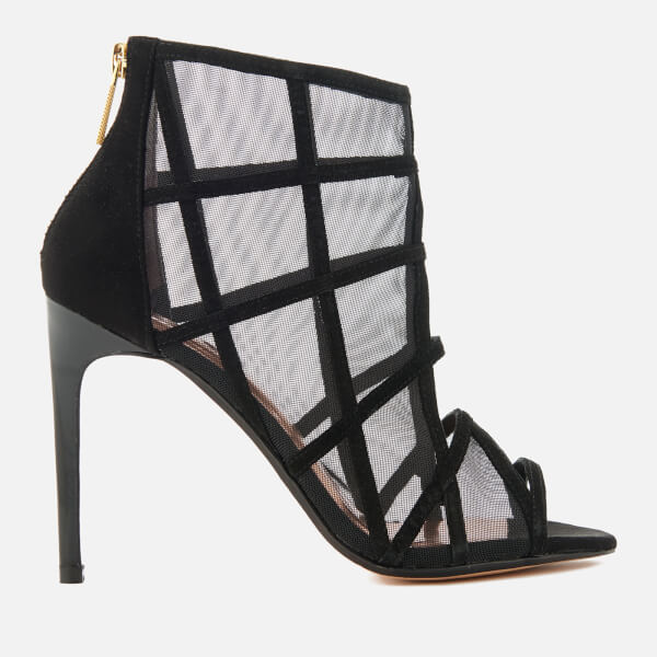 612c0d9bb997d Ted Baker Women s Xstal Suede Patent Caged Heeled Sandals - Black ...