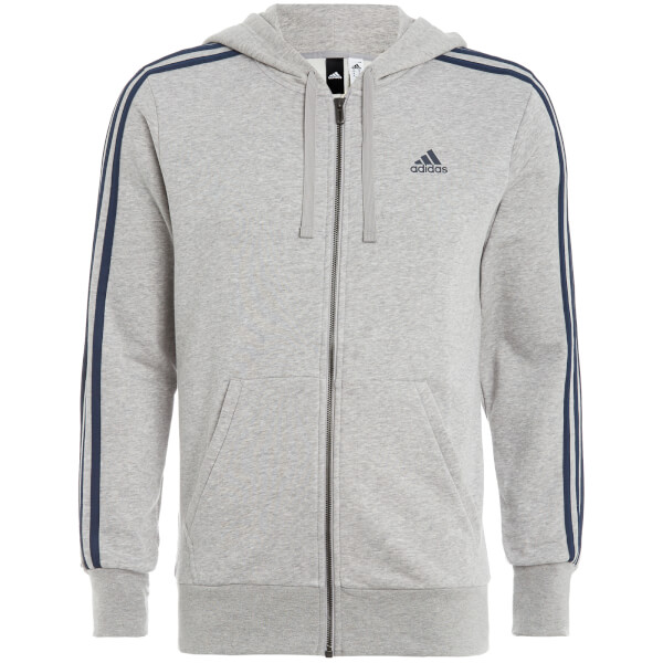 adidas Men's Essential 3 Stripe Zip Through Hoody - Grey Marl