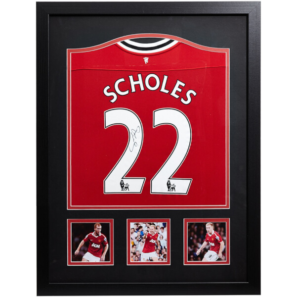 Paul Scholes Signed and Framed Manchester United Shirt