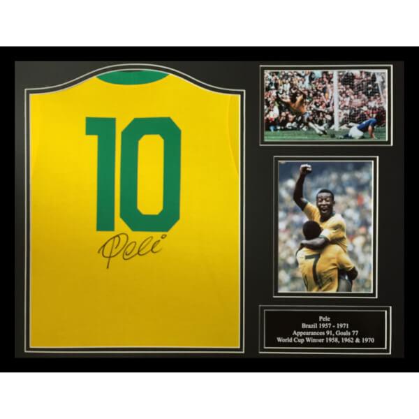 Pelé Signed and Framed Brazil Shirt