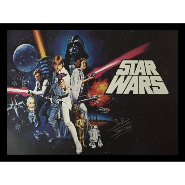 star wars framed poster signed by dave prowse darth vader